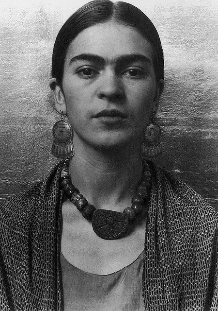 Art and Fashion Frida Kahlo Black and White Photograph Head and Shoulders Portrait