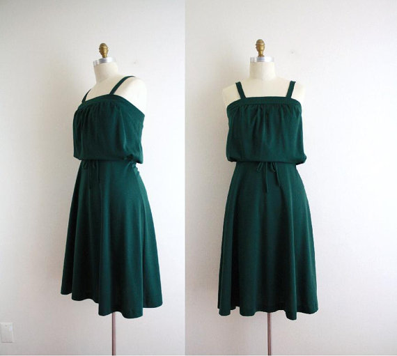Vintage Hunter Green Sundress . Summer Dress . 70s Day Dress . XS by CapriciousTraveler