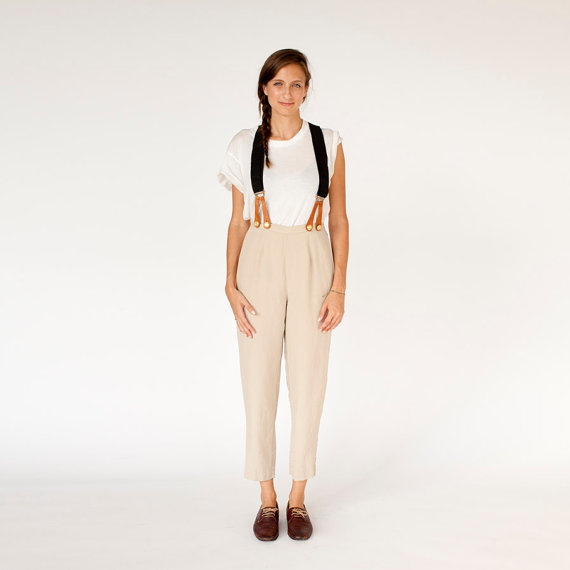 Annie Hall Khaki silk trousers with suspenders small by PleiadesVintage