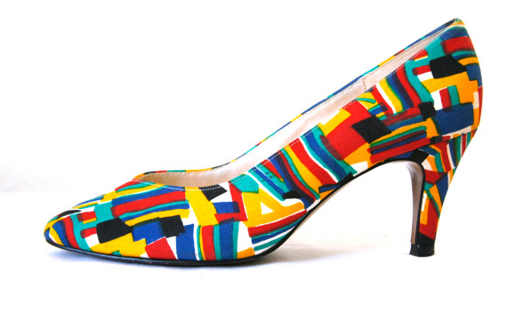 Abstract Primary Color Pumps Vintage 80s US Womens Size 7 by VintageReBelle