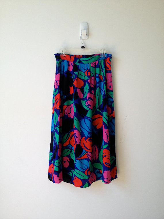 vintage 80s bold tulip print rayon side button skirt m l by vintspiration