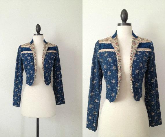 Gunne Sax jacket // Vintage 1970s Gunne Sax // Calico jacket by classybroadvintage
