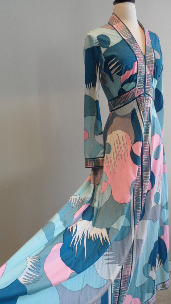 romantica by victor costa maxi dress gown abstract pink blue teal white gown barbie would wear 1960s 70s by FOREVERASTAR