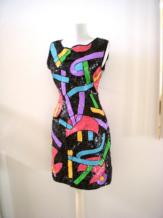 Vintage Avant Garde Sequin Party Dress Black Abstract Sequinned Cocktail Sheath Mini Dress by OmAgainVintage
