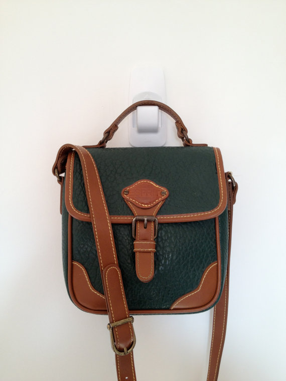 vintage 90s esprit hunter green and brown faux leather bag by vintspiration