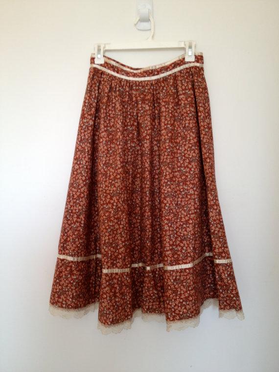 vintage 70s gunne sax gunnies calico floral flannel skirt m by vintspiration