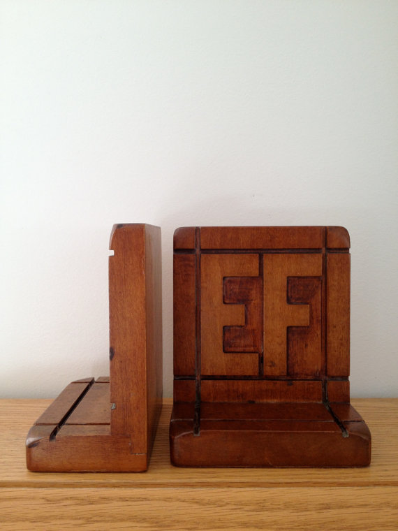 vintage carved walnut wood ef initials bookends by vintspiration
