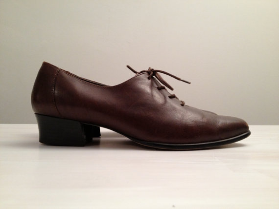 vintage espresso leather lace up pointy toe oxfords 7 7.5 by vintspiration