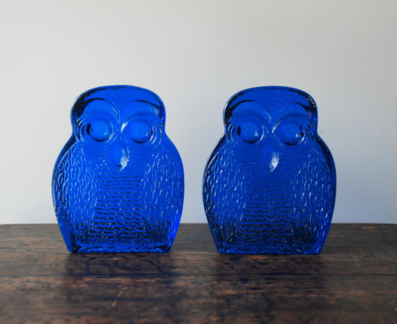 1960's Blenko Cobalt Blue Glass Owl Bookends by AntiqueLane