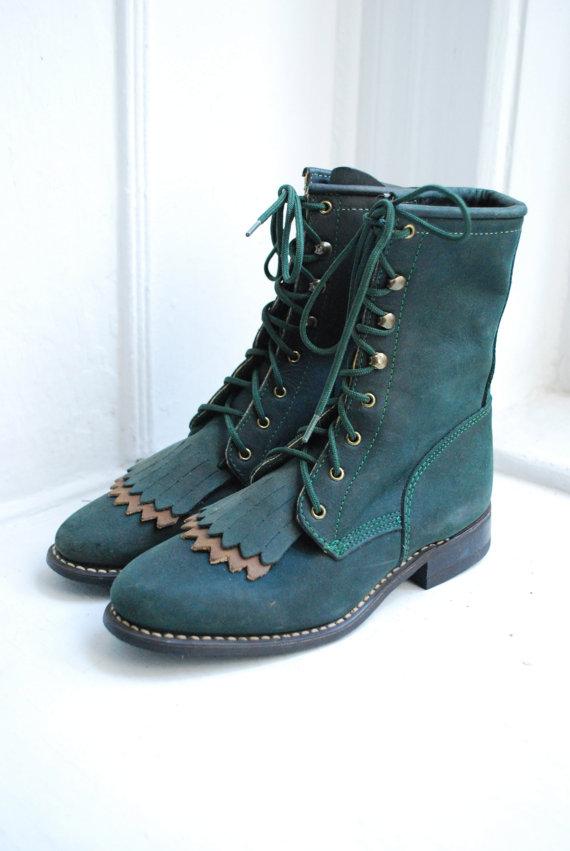 Vintage Dark Green Roper Boots - Size 5 by samanthabalk