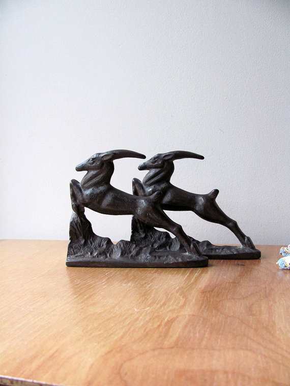 Gazelle Bookends Bronzed Iron Original Book End Pair Bronze Color Golden Highlights Statues Art Animal Features by HilltopTimes