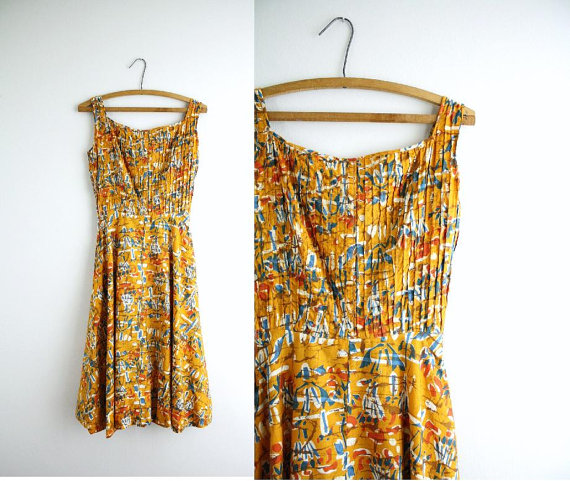 Vintage Abstract Day Dress . 50s Orange Ethnic Print Dress . 1950s by CapriciousTraveler