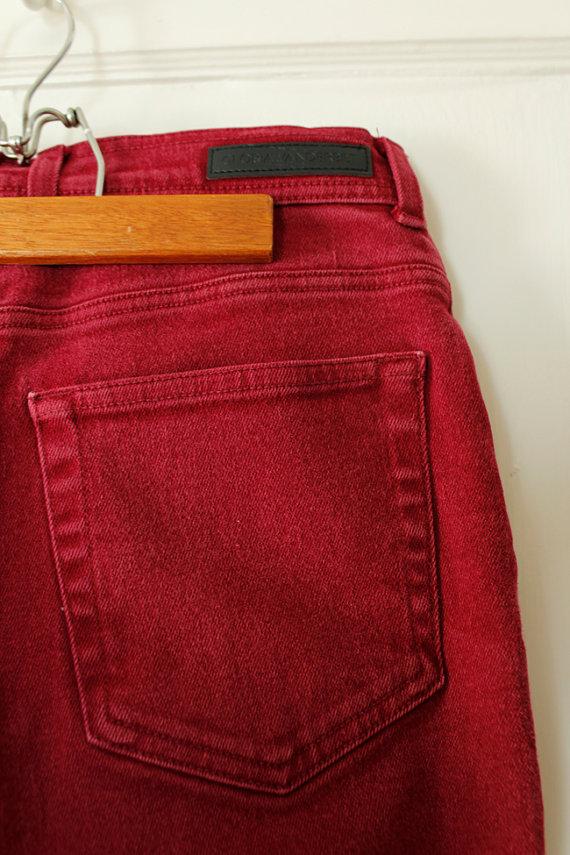 1980s Vintage Skinny Jeans Burgundy Brick Red Size 10 by StudioTinselVintage