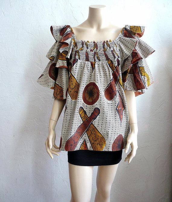 FATOU African Boubou Cotton Wax Maxi Blouse by bOmode