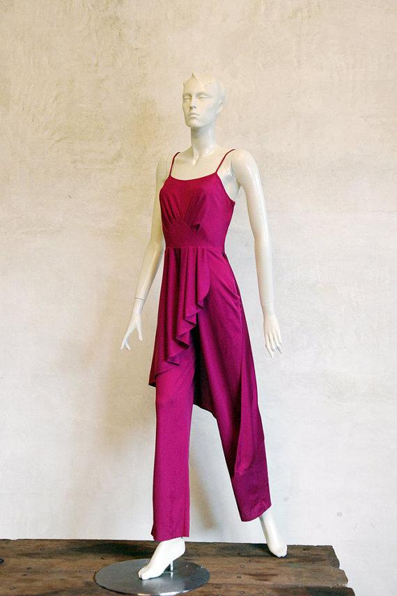 1980s Romper // Vintage Magenta Jump Suit by 86Vintage86