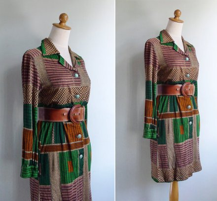 Vintage 70's African Tribal Print Jersey Shirt Dress S or M by fivestonesvintage
