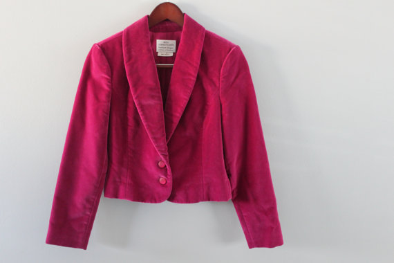 Vintage Raspberry Velvet Blazer. Miss Sophisticate by Pendleton by midcoastfun