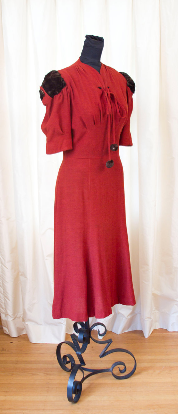 1930's Dress // Red Rust Wool Dress with Fur Puff Sleeves by Ellen Kaye by GarbOhVintage