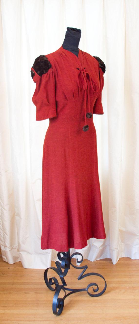 1930's Dress // Red Rust Wool Dress with Fur Puff Sleeves by Ellen Kaye by GarbOhVintage