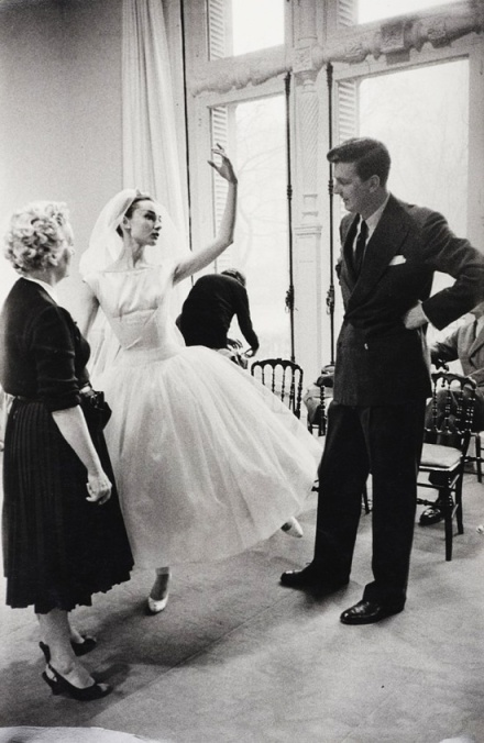 Audrey Hepburn and Hubert de Givenchy on the set of Funny Face, c. 1956.