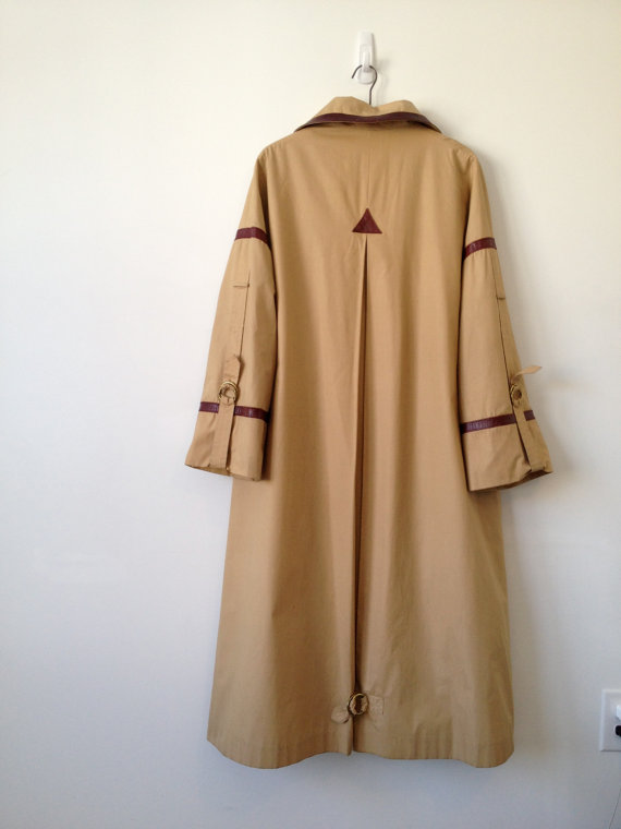 vintage 70s etienne aigner oxblood leather trim raincoat trench by vintspiration