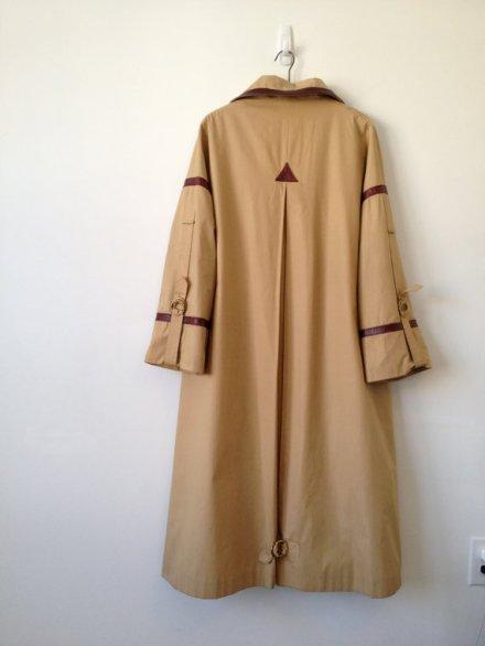 vintage 70s etienne aigner oxblood leather trim raincoat trench by vintspiration
