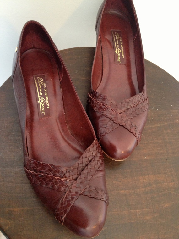 vintage oxblood braided leather etienne aigner shoes 8 by vintspiration