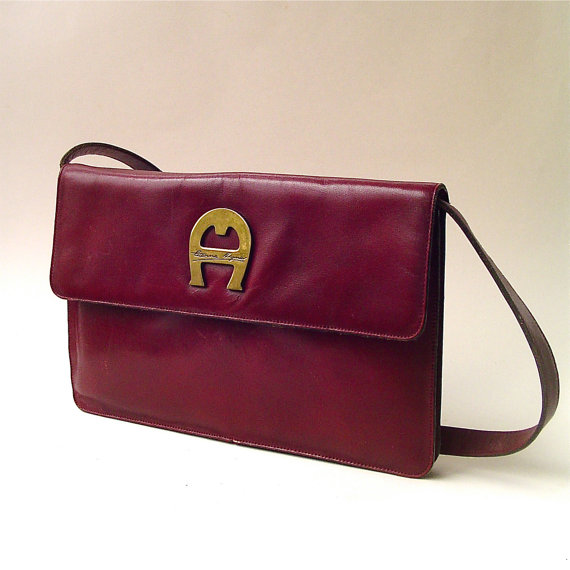 70s vintage Etienne Aigner Distressed Burgundy Leather Purse by SkinnyandBernie