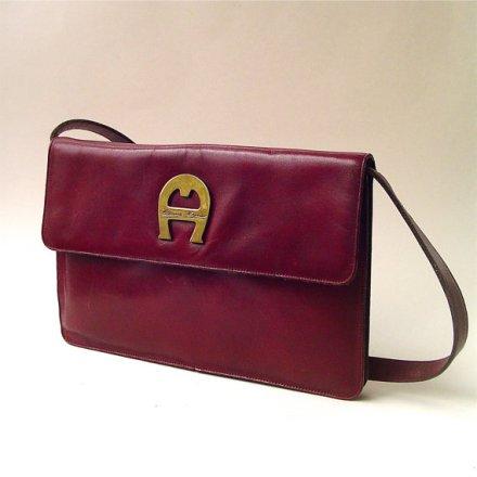70s vintage Etienne Aigner Distressed Burgundy Leather Purse by SkinnyandBernie
