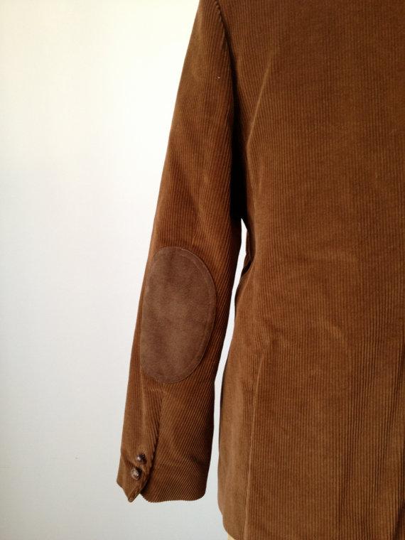 vintage 70's caramel corduroy blazer suede elbow patches l