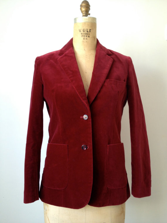 vintage 70s cranberry red velvet blazer jacket m