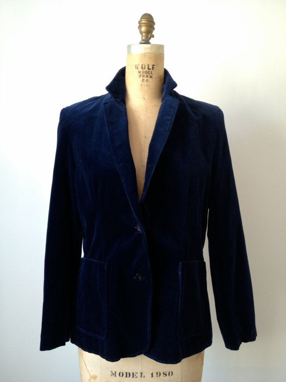 vintage midnight blue velvet blazer jacket l xl
