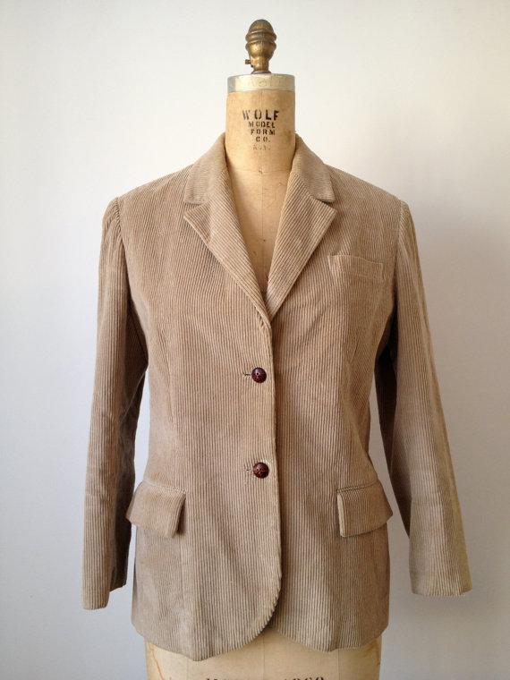 vintage 70s tan corduroy boyfriend blazer jacket l