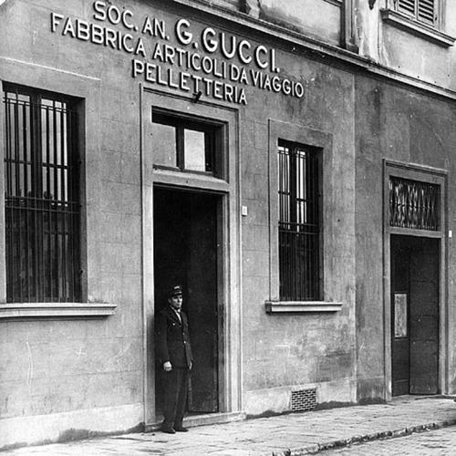 original Guccio Gucci workshop in Florence, Italy, around 1921.