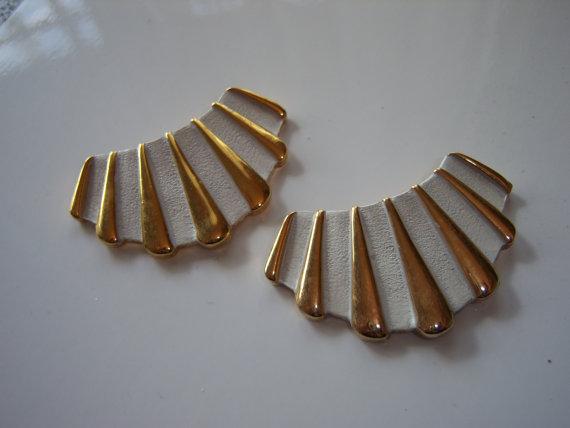 Vintage Retro Art Deco style white enamel and gold shoe clips via ReminisceVintage