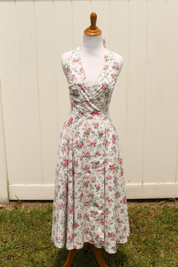 Vintage 80s Laura Ashley Floral Halter Wrap Dress Pin Up Style via TheRubyOlive