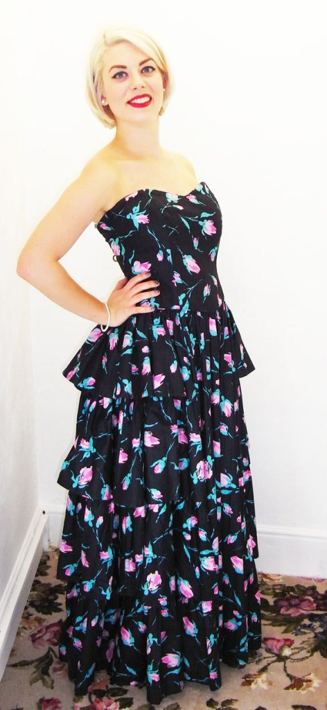 Fabulous 1980s Laura Ashley, Strapless Black Cotton & Floral Ballgown-Party Dress via SecondHandRoseWorc