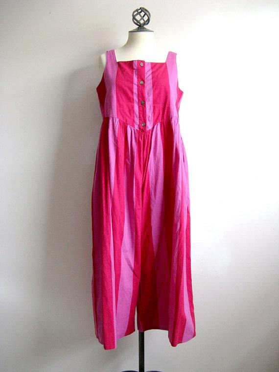 Laura Ashley Vintage 1980s Fuchsia Pink Striped Sleeveless Cotton Jumper Large via ShuuShuubyLulu
