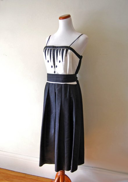 Vintage Art Deco Style Dress Black and White Formal Knee Length Union Made via TheLostCloset