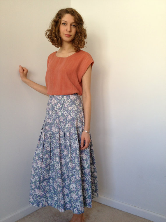 vintage laura ashley cotton spring floral skirt m by vintspiration