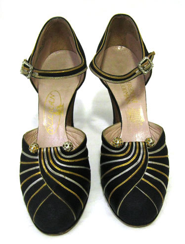 Vintage 1930s Art Deco Delman Black Gold Silver Rhinestone Shoes Heels 30s Museum 6 AA via magicalbee