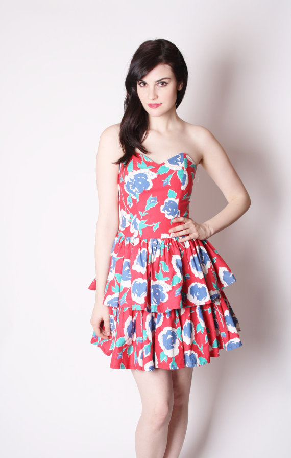 Strapless Floral Short Ruffle Cotton Party Dress / 80s Party Dress / Sweetheart Neckline Dress via aiseirigh