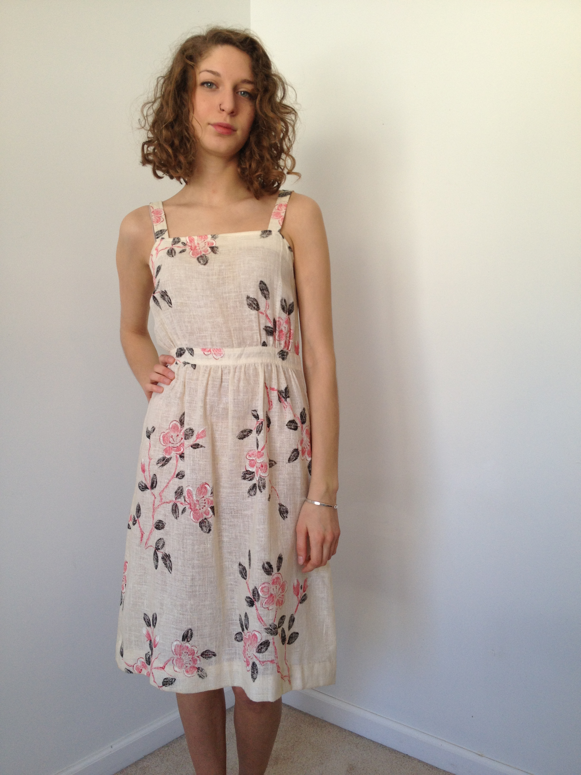 vintage 70s cherry blossom sundress s