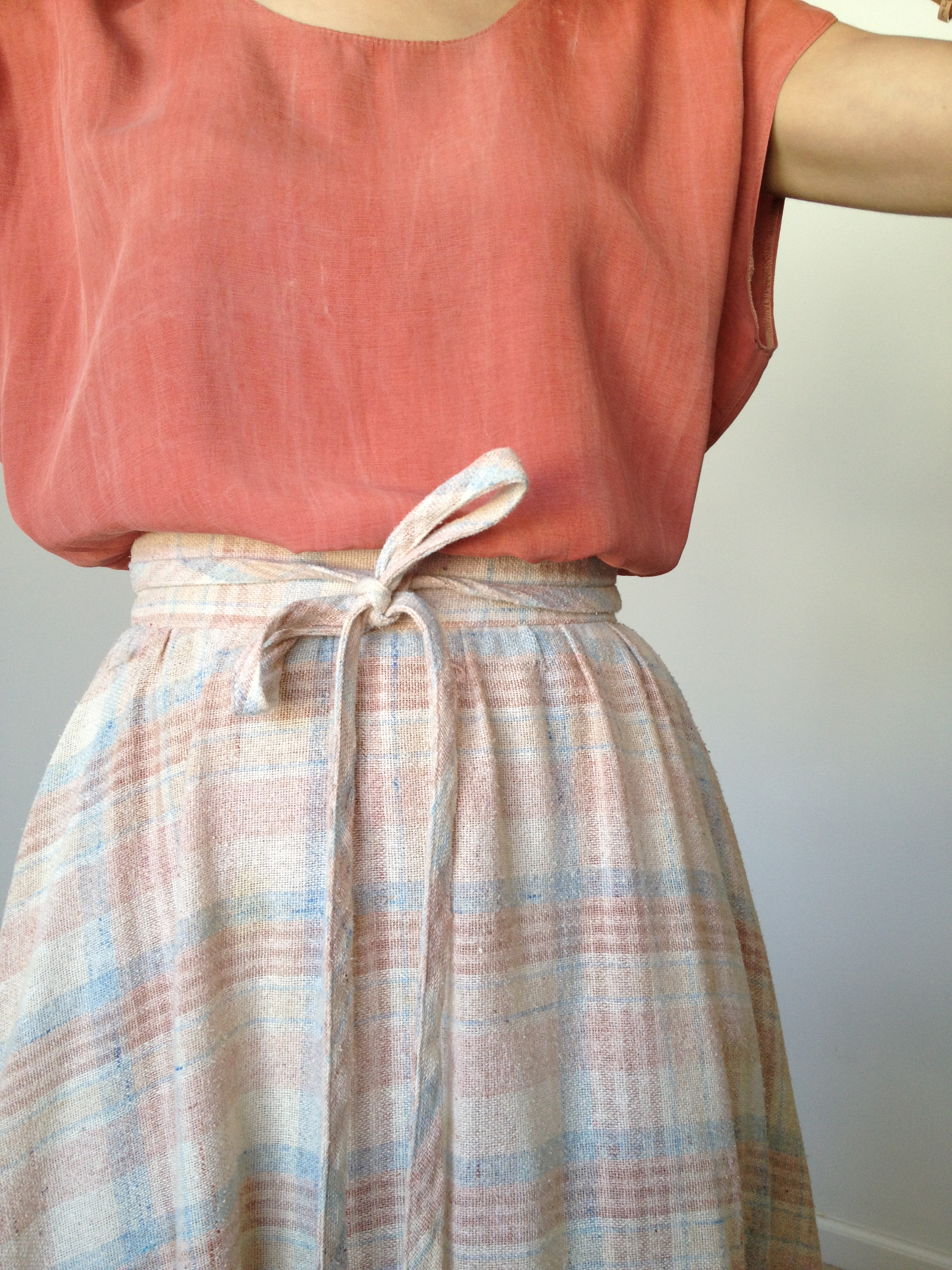 70s neutral plaid skirt