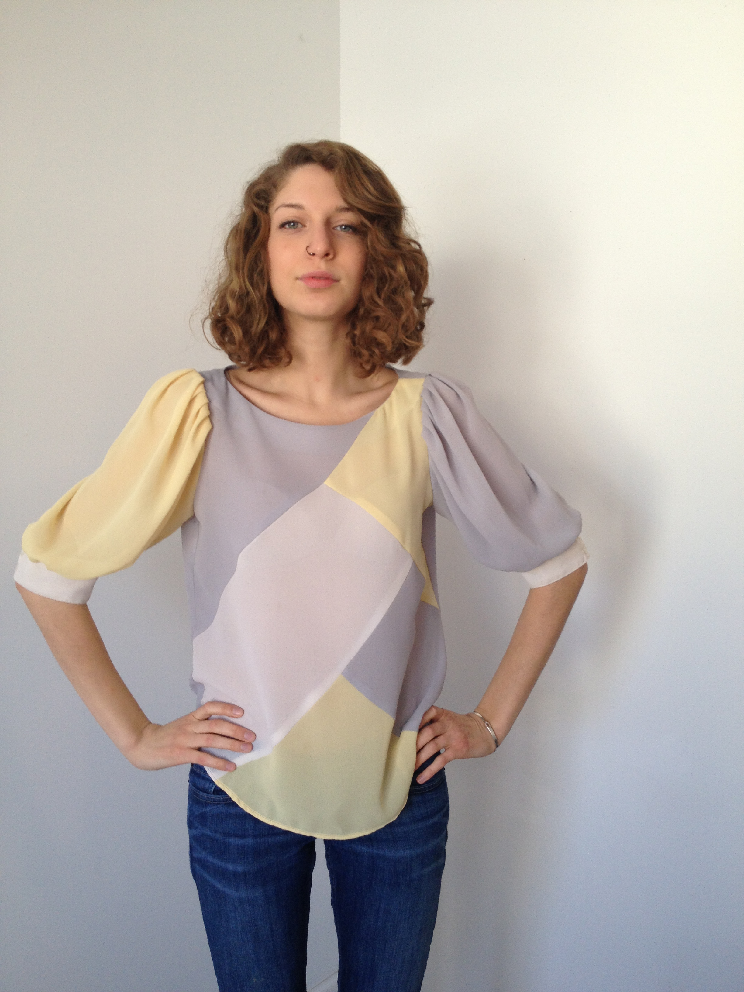 vintage dove gray + pale yellow + white blouse s m