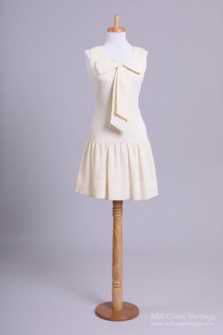 "1960's Carlette ""Mary Jane"" Knit Vintage Wedding Dress"