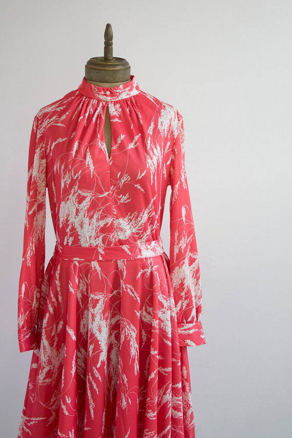 The Flamingo - Vintage Coral Pink and White Dress by briarwood