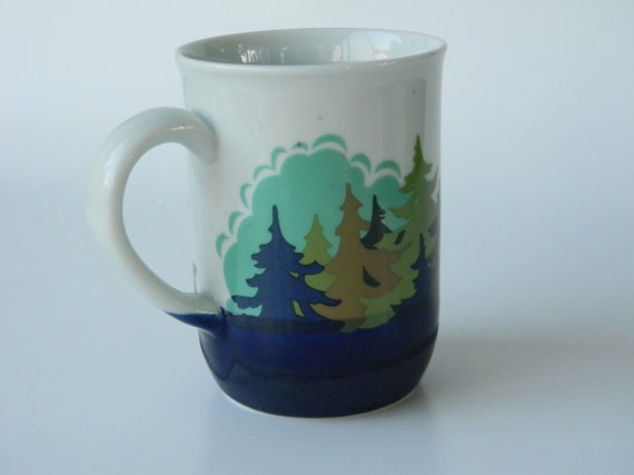 OTAGIRI Ceramic Mug Hand-painted Trees by keysNparrots