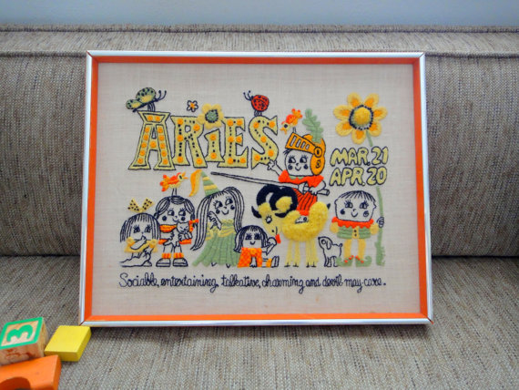 Vintage Aries Orange Embroidered Wall Hanging by TheOddBin