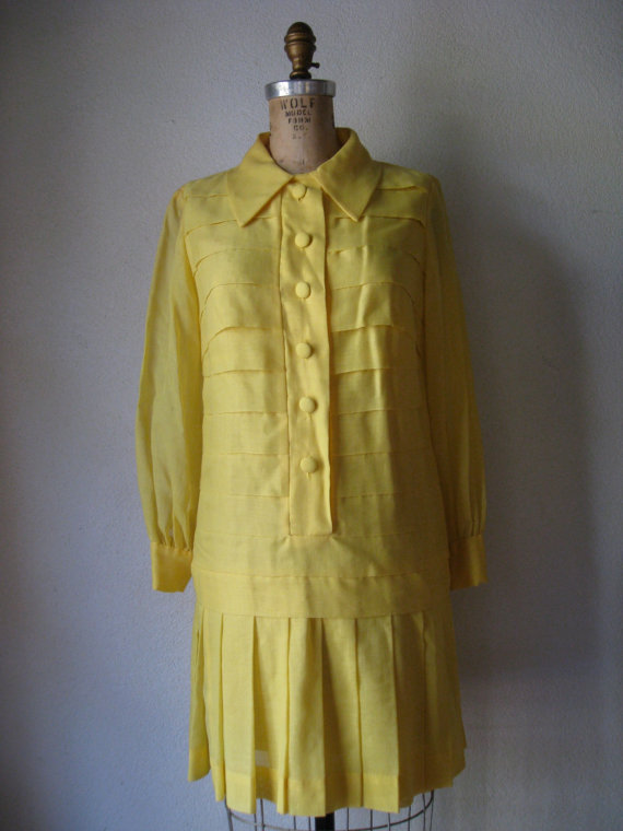 vintage 1960s to 1970s dress / carlette yellow drop waist mod shift horizontal layers pleated skirt by SHESABETTIE